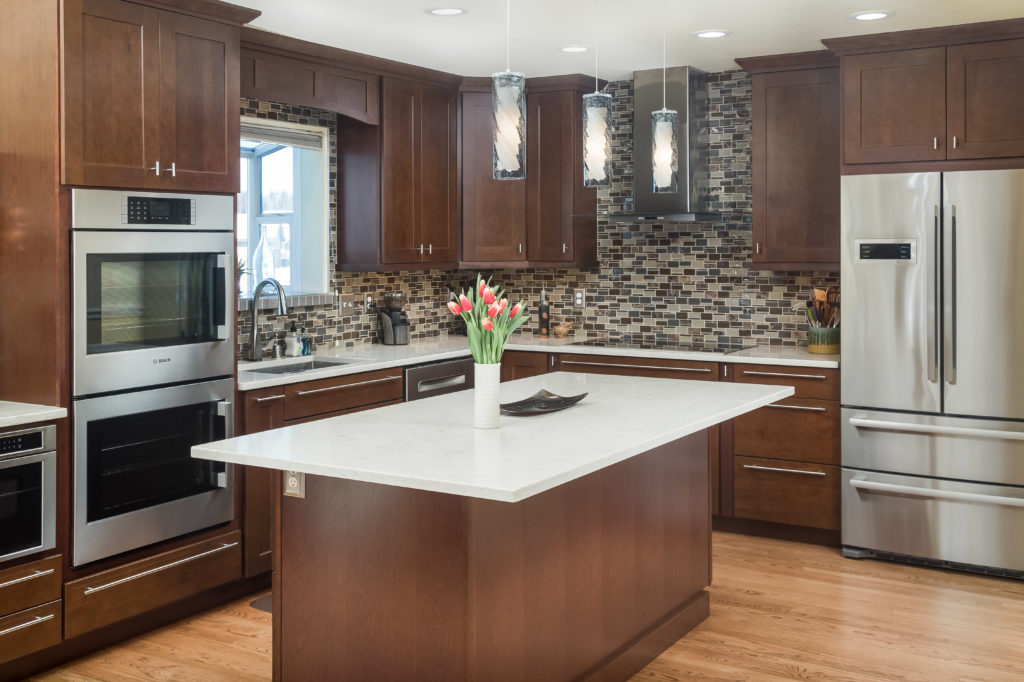 Transitional Kitchen with Beverage Bar and Island - Anchorage, AK