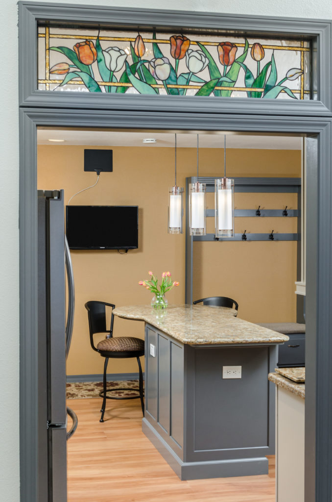 Transitional Comfort Kitchen with Custom Stained Glass Transom - Eagle River, AK