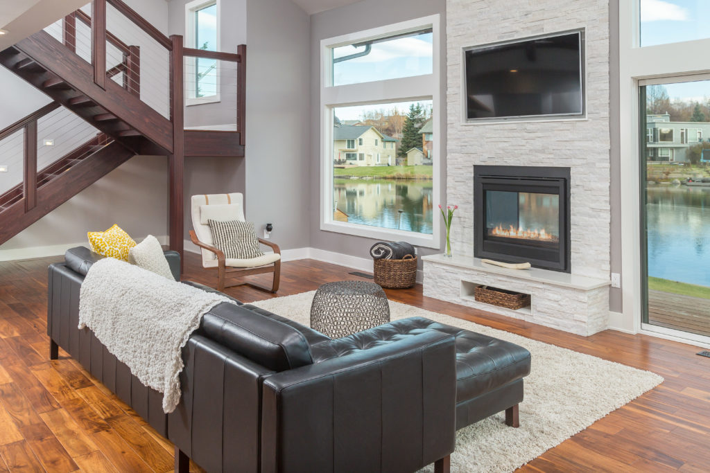 Modern LIving Space with Custom Stairs and See Through Fireplace - Anchorage, AK
