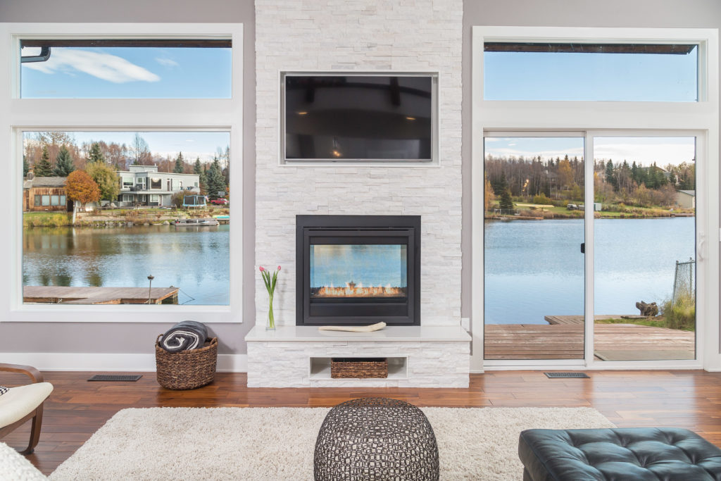 Modern LIving Space with Custom See Through Fireplace - Anchorage, AK