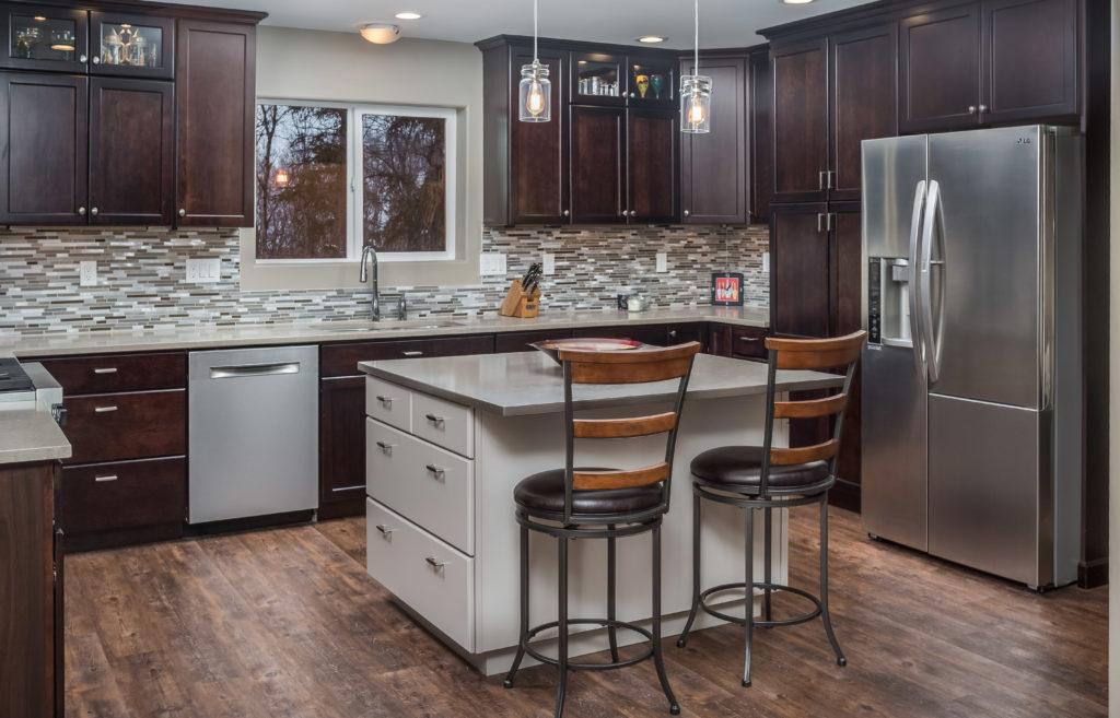 Transitional Kitchen with Dark Cherry Cabinets - Anchorage, AK